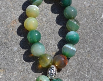 Fish mala in lovely green agate  F033