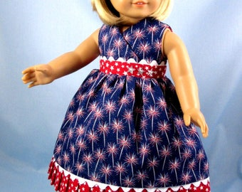 Patriotic Doll Dress - 18 Inch Doll Clothes - Sundress and Hair Bow in Red White and Blue - Fits American Girl Dolls