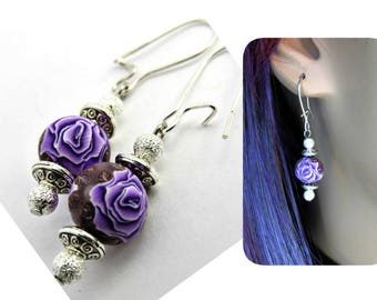 Purple rose earrings , Rose earrings, Rose jewelry, clay earring, flower earrings, dangle earrings, handmade earrings, lavender earrings