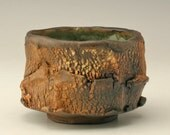 wabi sabi chawan with wood fired look, rust and black Japanese teabowl , Japanese tea ceremony, antique Japanese pottery, unique pottery cup