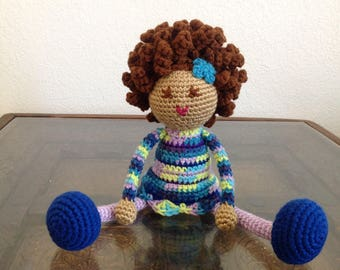 READY TO SHIP Crochet Biracial Doll, bright colors, multicolored Plush Afro Natural Black Hair Stuffed Toy Baby Girl Gift