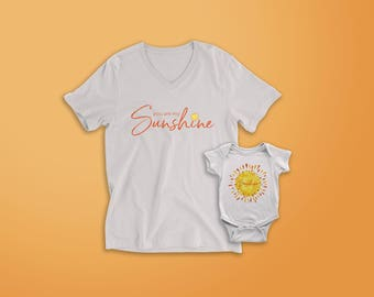 You are my sunshine (Mom and child matching t-shirts)
