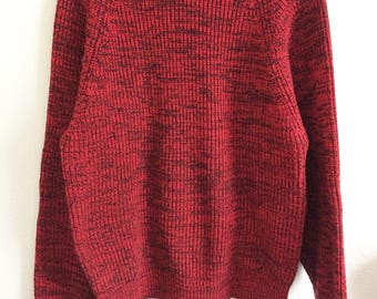 80's Red Black Home Alone Heather Salt Pepper Sweater Jumper Cable Knit Kennington