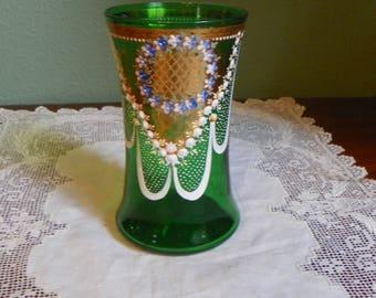 Antique  Glass emerald Green VASE Encrusted drape gold cartouche Hand painted enamel floral exquisite
