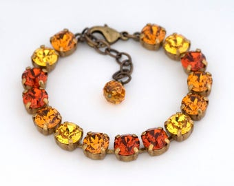 Orange and Yellow Swarovski Crystal Bracelet, Orange Rhinestone Bracelet, Rhinestone Jewelry, Crystal Tennis Bracelet Adjustable, Delyth