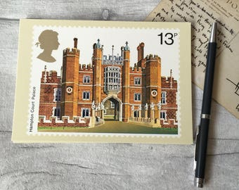 Hampton Court Palace vintage postcard by Royal Mail - Unused, British architecture, Historic buildings, anglophile gift, print for framing