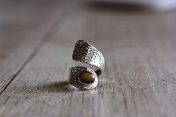 TIGERS EYE RING - Adjustable - 925 Ring - Sterling Silver Ring - Tigers eye - Gemstone - Gift - Vintage Ring - Oxidised Ring - Bespoke