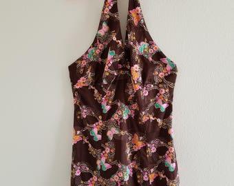 Vintage 1970's Boho Butterfly Halter Maxi Dress