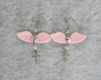 Pink and Silver Angelic Wing Earrings