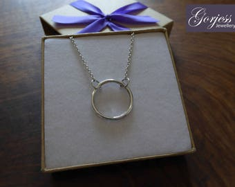 Handmade Chunky Ring Pendant Necklace, Silver