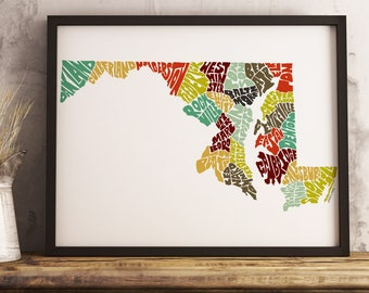 Maryland map art print, available Framed or Unframed, Maryland typography art, Maryland art print, Maryland state map, Maryland wall décor