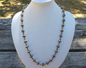 Vintage Taxco Mexican Sterling Silver & Black Inlay Link Bead Necklace- Hippie Boho Rustic Primitive Handmade Long Heavy Elegant Chic