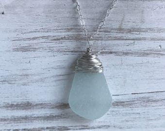 aqua sea glass necklace, sterling silver wire wrapped aqua frosted Atlantic sea glass necklace, bridal gift, beach wedding, bridal necklace