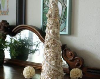 Seashell tree - sea shell topiary - Christmas tree - Easter decoration- peach - white - coastal decor - beach decor