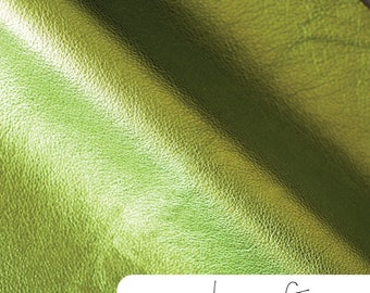 """Metallic Leather - Lime Green - 12"""" x 12"""" Cut - Leather-12-Lime"""