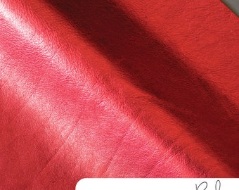 """Metallic Leather - Red - 12"""" x 12"""" Cut - Leather-12-Red"""