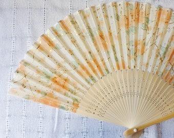 Orange Blossom Hand Fan, Folding Cloth Fan with Gold Spatter