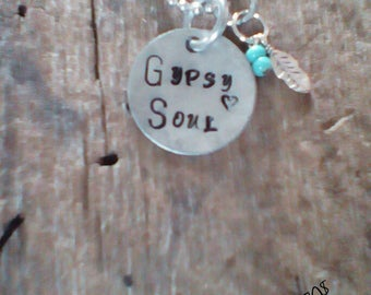 Gypsy Soul hand stamped necklace