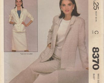 Jacket, Skirt & Pants Pattern McCalls 8370 Size 12 Uncut