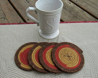Clothesline Coasters, Coasters, Coiled Coasters, Scrappy Coasters,  Fabric coasters, Set of 4, brown, mustard, brick, grunge, red