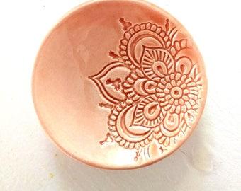 Peach Ring Holder - Trinket Dish - Handmade Jewelry Bowl - Handmade Ring Dish - Lotus Pattern - Peach Bridal / Wedding / Shower Gift!