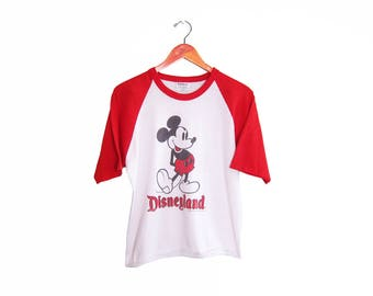 vintage t shirt / Mickey Mouse shirt / Disneyland shirt / 1980s Mickey Mouse Disneyland baseball shirt Medium
