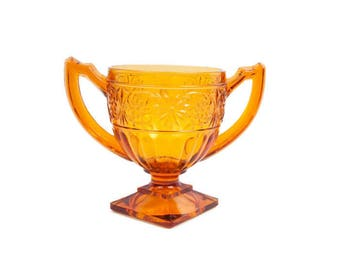 Vintage Amber Glass Sugar Bowl Indiana Glass Co Daisy Pattern Gold Footed Bowl Double Handled