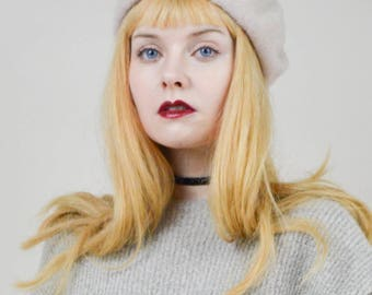 80s 90s Soft Cream Beret Hat