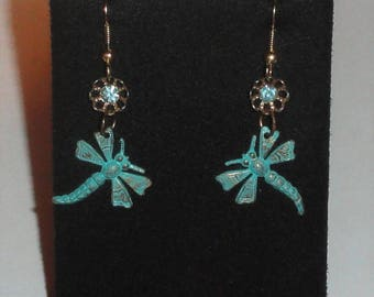 Dangle Figural Distressed Patina DRAGONFLY Rhinestone FLOWER Pierced Drop Hook Earrings