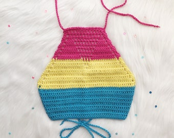 PRIDE - Pansexual Pride Flag Halter - Premade, Size XS - Crochet Crop Top - Handmade Vegan Festival Clothing - Noelebelle - Ready to Ship