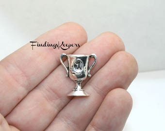 5 Trophy Charms, First Place Cup, Antique Silver Tone 20 x 17 mm - ts1294