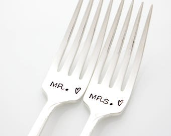 Mr and Mrs wedding forks, wedding table setting. Unique engagement gift. As featured by Martha Stewart Weddings.