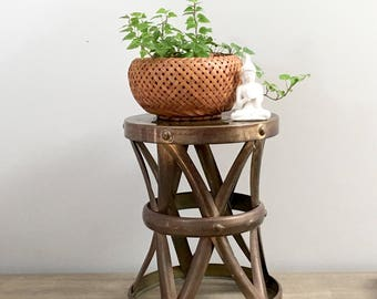 Vintage Brass Side Table Plant Stand Stool Drum Table X Cross Design Mid  Century Boho Rustic