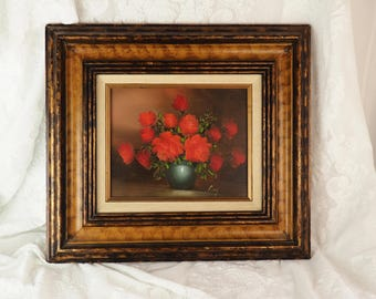 Original Oil Painting- Red/ orange Roses- Framed- Signed Amy- Creative Interiors Company- Vintage