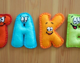 Stuffed Felt Name Magnetic Colorful Letters w/ Silly Faces, Handmade & Personalized, Children Toddlers Baby Toys Decor Gifts Educational
