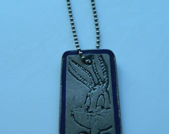 Vtg Warner Brothers Bugs Bunny Necklace, Bugs Bunny Dog Tag, Bugs Bunny Jewelry, Warner Bros, Looney Tunes Necklace