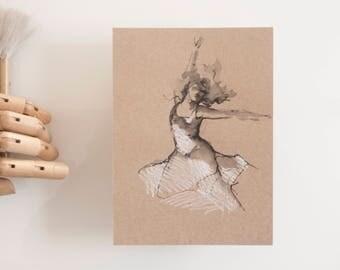 Female art drawing, original drawing, art, drawing on paper craft, original art, modern female art, spirituality, movement, dancer drawing
