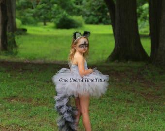 Raccoon Tutu Dress - Girls Size 12 18 Months 2T 3T 4T 5 6 7 8 9 10 12 ... Birthday, Photo Prop, Dress Up, Costume - Gray Black Bushy Tail