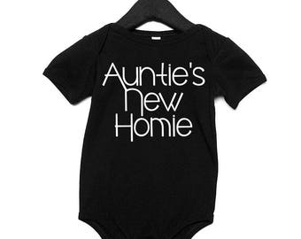 Auntie's New Homie, Aunties baby, new niece, new nephew, gifts for Aunts, gifts from Aunts, new Aunt, Auntie, homie, baby shower gift