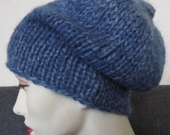 winter hat hand knit in blue - size S/M
