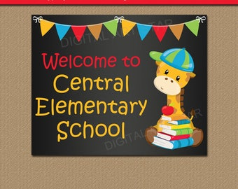 Back to School Sign, First Day of School Sign, Chalkboard School Sign Printable, Bulletin Board Ideas, Chalkboard Classroom Decor, Name Sign
