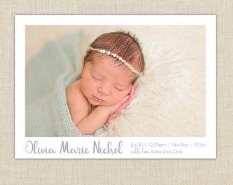girl birth announcement. custom photo card