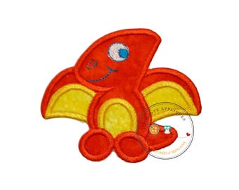 Cute orange dinosaur - Iron embroidered fabric applique patch embellishment-ready to ship