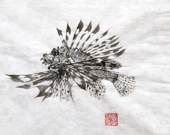 LIONFISH - MinoKasago - Original Gyotaku - traditional Japanese fish art