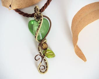 green heart pendant wire wrapped nature jewelry lampwork glass necklace gift for her women love christmas