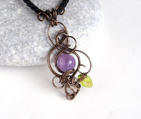 Amethyst wire wrapped pendant Gemstone necklace leaf nature jewelry Gifts for women Anniversary gift for her Handmade ooak