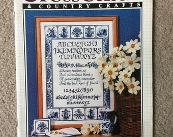 Cross Stitch and Country Crafts Magazine, Delft Sampler, Herb Garden Wall Hanging, Home Decor, Better Homes and Gardens