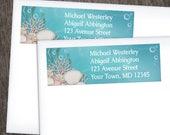 Under the Sea Return Address Labels - Whimsical Underwater or Aquarium design with Aqua Blue and Beige - Printed Address Labels