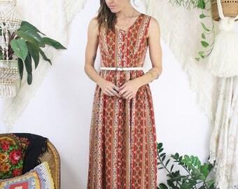 80s-does-50s Day Dress, Red bohemian Vintage Midi dress, XS 3827
