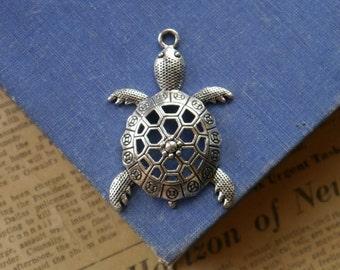 2 Large Antique Silver Turtle Tortoise Charms Pendants 57mm (BC2984)